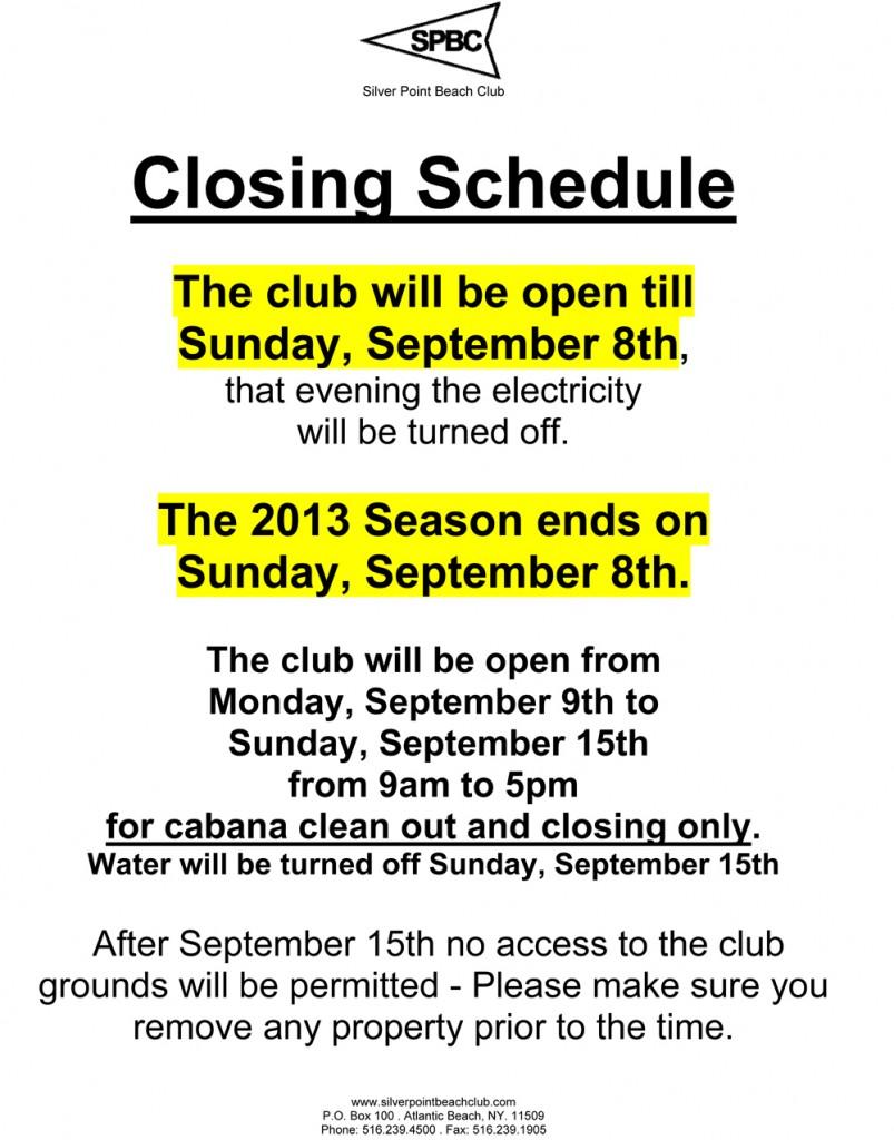 Closing Schedule